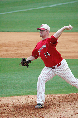 Rio Grande's Ryan Robertson throws a pitch in Thursday's MSC Tournament win over Lindsey Wilson