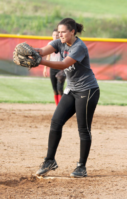 Jenna Jones sets to throw a pitch during Thursday's Rio Grande softball workout. Jones recently signed with the RedStorm.