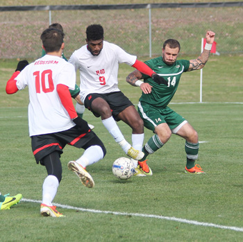 Rio's Luiz Filho battles Point Park's Matt Dziak for control of the ball in Saturday's 2-1 win over the Pioneers