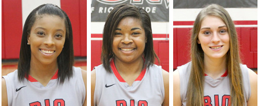 Rio Grande's Bri Thomas (left), Alexis Payne (middle) and Sarah Bonar (right) were honored by the WBCA