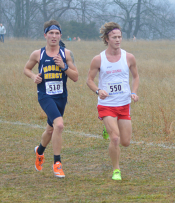 Rio Grande junior Matt Engstrom runs for the RedStorm in Saturday's NAIA Nationals.