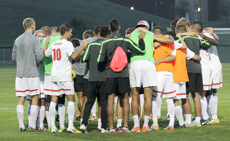 Rio Grande men's soccer, shown here huddling before a recent win over Brescia, is the new No. 1 team in the country