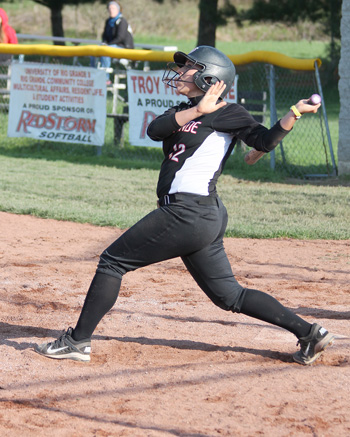 Rio Grande's Mattie Lanham connects for a three-run double in Wednesday's game two win over Ohio Christian