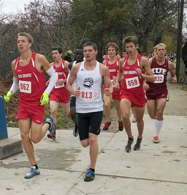 Rio's Dallas Guy (second at left) is joined by a trio of teammates at the front of the pack in Saturday's KIAC Championships