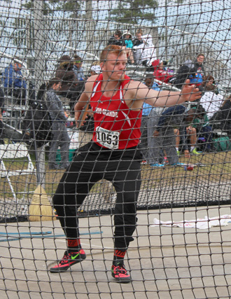 Rio's Alex Presley prepares to let go of the discus during Saturday's Shamrock Invitational