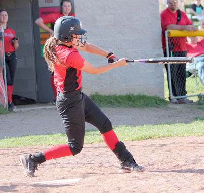 Rio freshman Tayler Arndt connects for a home run in game two of Sunday's DH sweep of Midway