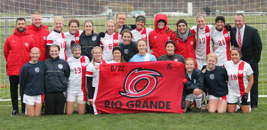 The Rio Grande women's soccer team tangles with Cumberland University in the first round of the NAIA National Tournament