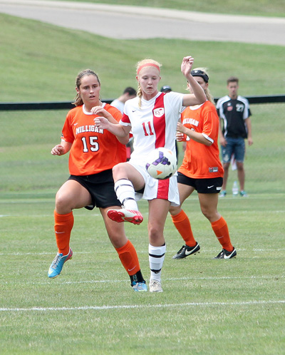 Junior Courtney Young controls the ball in Saturday's 1-0 win over Milligan. Young had the game's lone goal.
