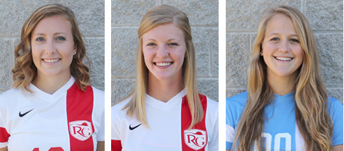 Rio Grande's Melissa Dickerson (left), Courtney Young (center) and Karla Garn (right) were named NAIA Scholar-Athletes
