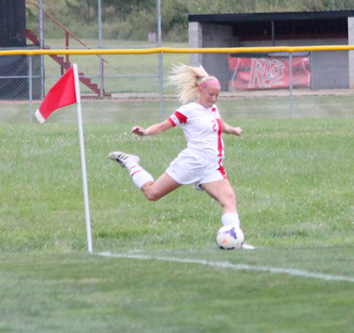 Rio's Kasey Crow connects on a corner kick which resulted in a goal in Wednesday night's loss to Marian