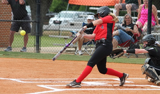 Rio Grande's Gabby Gregg connects for a two-run single in the third inning of Monday's loss to Central Methodist