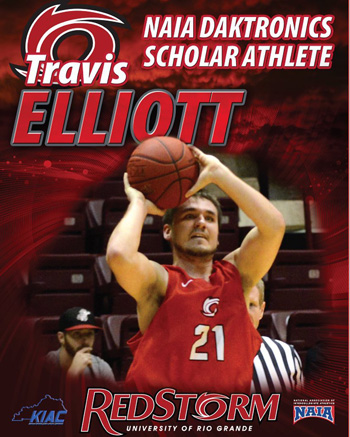 Rio Grande senior Travis Elliott was named a Daktronics-NAIA Scholar Athlete on Monday