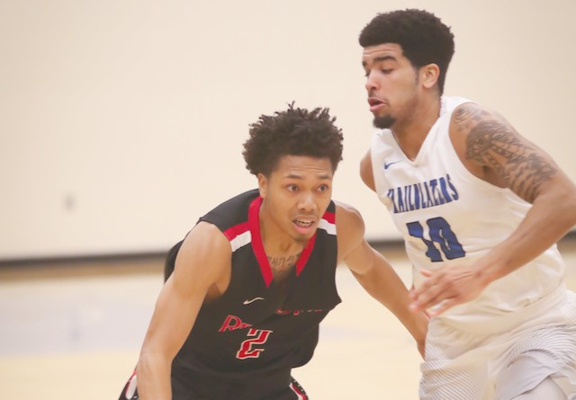 Rio's Will Hill tries to drive past OCU's John Johnson during Saturday's 78-74 loss to the Trailblazers