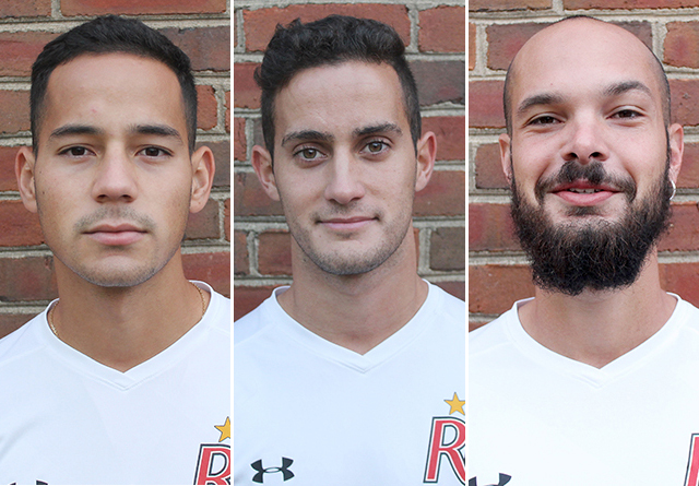 From left to right, Rio's Jorge Guinovart, Pau Rodriguez and Heitor de Melo were named first team NAIA All-Americans