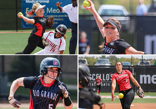 Rio's (clockwise from top left) Michaela Criner, Kelsey Conkey, Jenna Jones and Alex Stevens were honored by the NFCA