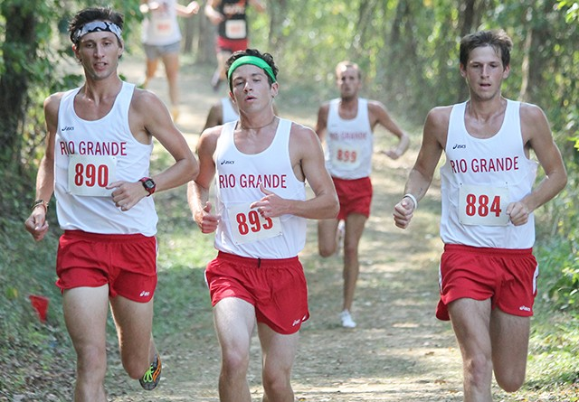 Rio's Dallas Guy (middle) finished second in Saturday's Patty Forgey Invitational, helping the RedStorm to a team title