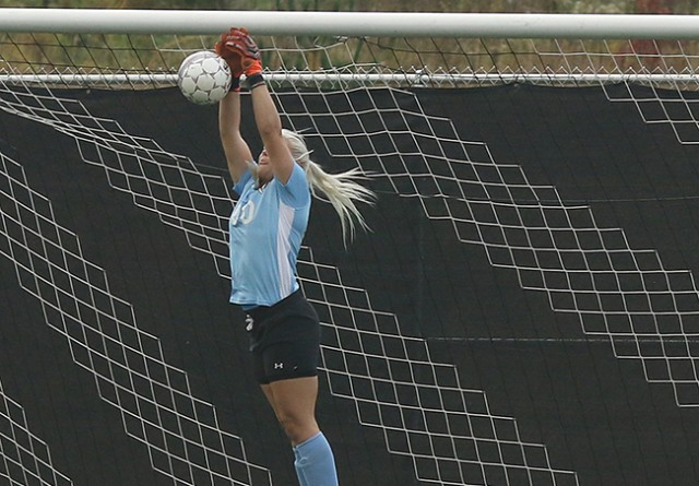 Rio Grande's Alli Jones collects one of her 10 saves in Wednesday's 4-0 loss at Shawnee State
