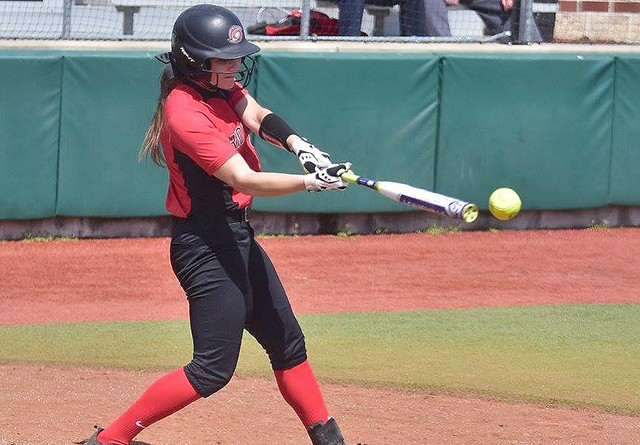 Rio's Kelsey Conkey clubbed three home runs in Saturday's doubleheader split with Carlow University