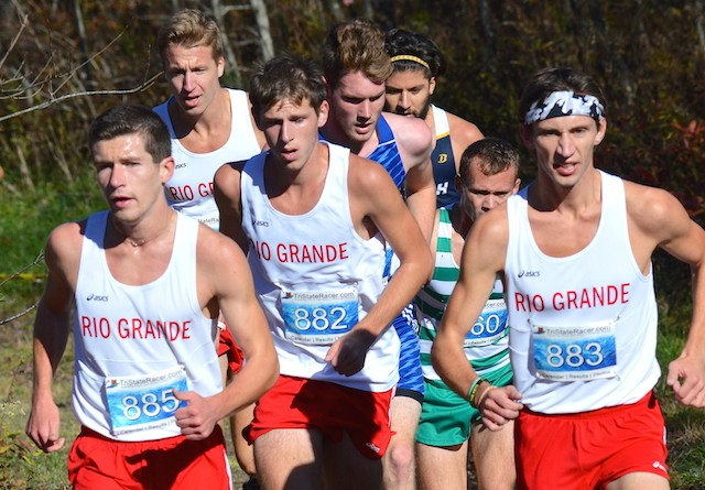 Rio's Dallas Guy (left) led a trio of RedStorm runners to the finish line in Saturday's RSC Championship