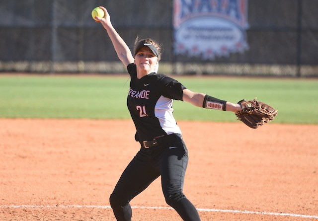 Rio's Kelsey Conkey tossed a five-hit shutout in the RedStorm's game two win over Montreat College on Saturday