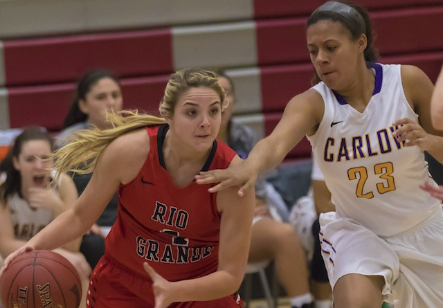 Rio's Megan Duduit drives the baseline during Saturday's 65-58 win at Carlow