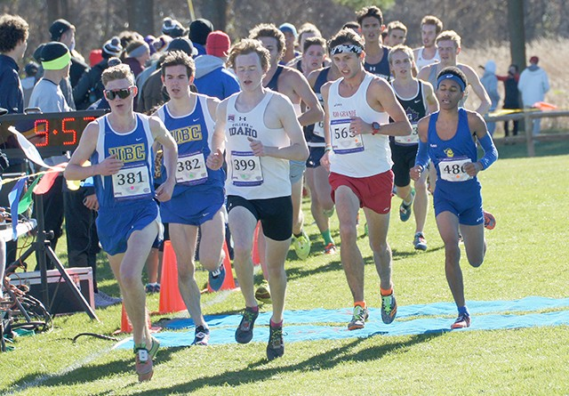 Rio Grande's Blake Freed (red shorts) finished 36th in Saturday's NAIA National Championship meet in Elsah, Ill.