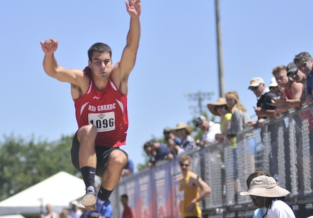 Rio junior Nikola Andjelic, shown here in the long jump, repeated as an All-American after placing fourth in the Decathlon