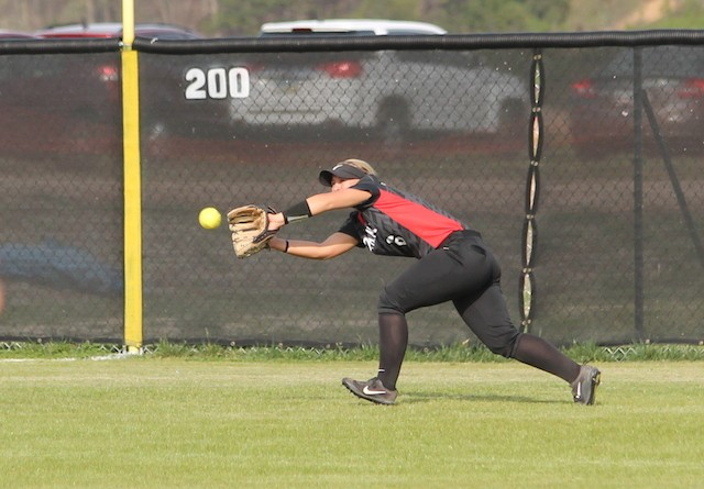 Rio's Carly Skeese makes a running catch to prevent an extra-base hit in Friday's doubleheader sweep of Kentucky Christian