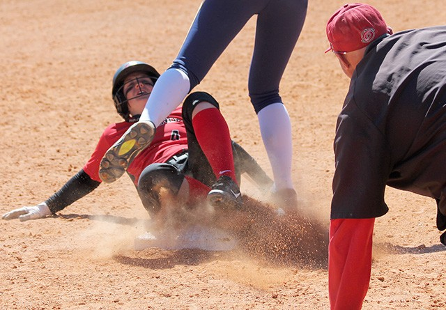 Rio's Gabby Gregg slides into third base trying to stretch a double into a triple during Sunday's game at Montreat