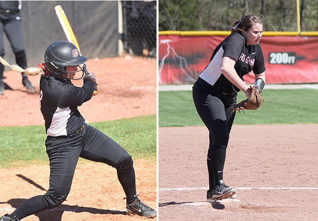 Rio's Michaela Criner (left) and Tiffany Bise (right) were named RSC Player and Pitcher of the Week, respectively, on Monday