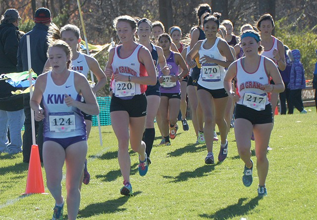 Rio's Keri Lawrence (220) and Maggie Dellinger (217) run in Saturday's NAIA National Championship Meet in Elsah, Ill.