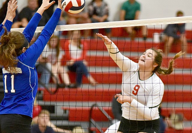 Rio's Abby Grasso sends the ball over the net during Friday night's home loss to Ohio Christian