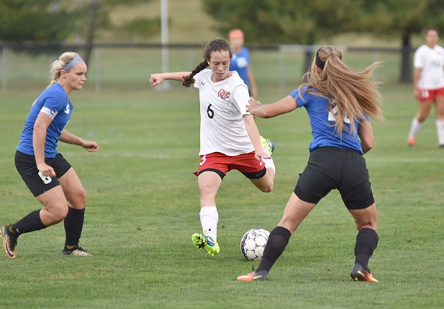 Rio's Daniella DeSousa takes aim on what would be her second goal in Thursday's win over Ohio Christian
