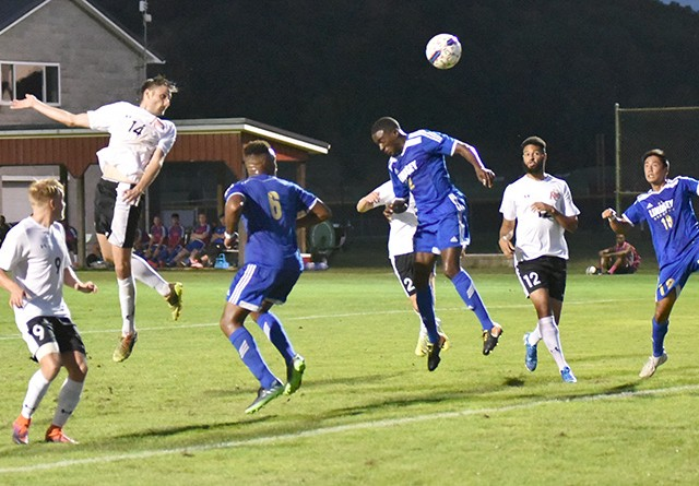 Rio's Silas Machado heads in a first half goal during Sunday night's win over Lindsey Wilson