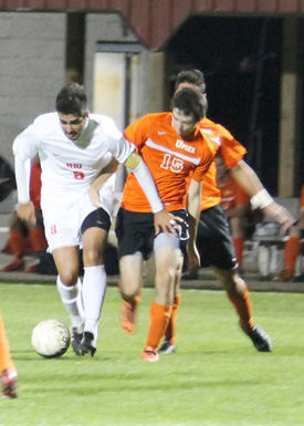 Rio Grande's Richard Isberner, shown here in a win over Pikeville, leads the RedStorm into Saturday's NAIA Tournament game