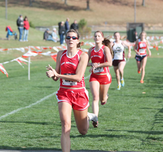 Rio Grande's Brittany Piccone (foreground) and Amy Lower (following) were named Academic All-MSC selections on Saturday