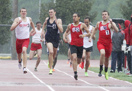 Rio Grande's Kyle Sanborn (far left) races toward a 2nd place finish in the men's 800 meter run at the MSC Championships