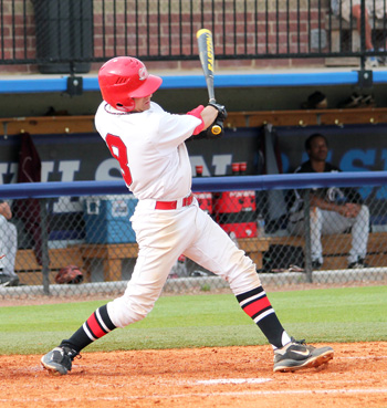 Rio Grande's Grant Tamane collects an eighth inning single in Wednesday's MSC tourney game against Campbellsville.