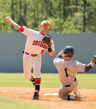 Rio Grande's Grant Tamane completes a double-play in an MSC tourney win over Shawnee State. The tourney resumes Wednesday