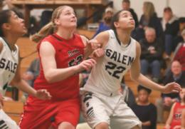 Rio's Brooke Marcum battles Salem's Safiya Hernandez for a rebound in Wednesday night's 106-91 win over the Tigers