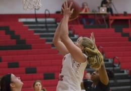 Rio's Brooke Marcum scores two of her 18 points in Saturday's 80-55 win over Ohio Christian