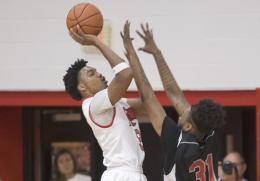 Rio Grande's Stanley Christian scores two of his nine points in Friday night's 76-57 win over Miami-Hamilton in the Bevo Fran
