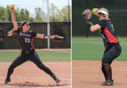 Rio Grande's Kelsey Conkey (left) and Michaela Criner (right) were named to the NAIA Softball All-America Second Team