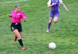 Rio Grande's Jenna Porter looks upfield for an open teammate during Saturday's 2-1 win over Carlow