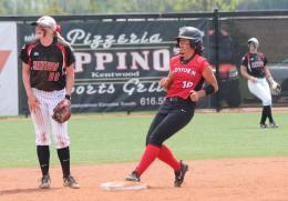 Rio's Kari Jenkins pulls into second base after a sixth inning double in Tuesday's 3-2 win over Davenport University