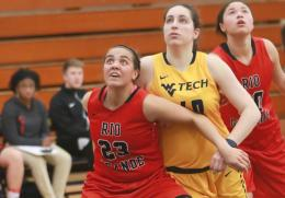 Rio's Jasmine Smith battles WVU Tech's Laura Requena for rebound positioning during Saturday's 82-74 win by the RedStorm