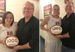 Rio seniors Sharday Baines (left) and Brooke Marcum (right) receive commemorative basketballs from coach David Smalley